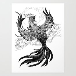 Fire Rooster Art Print
