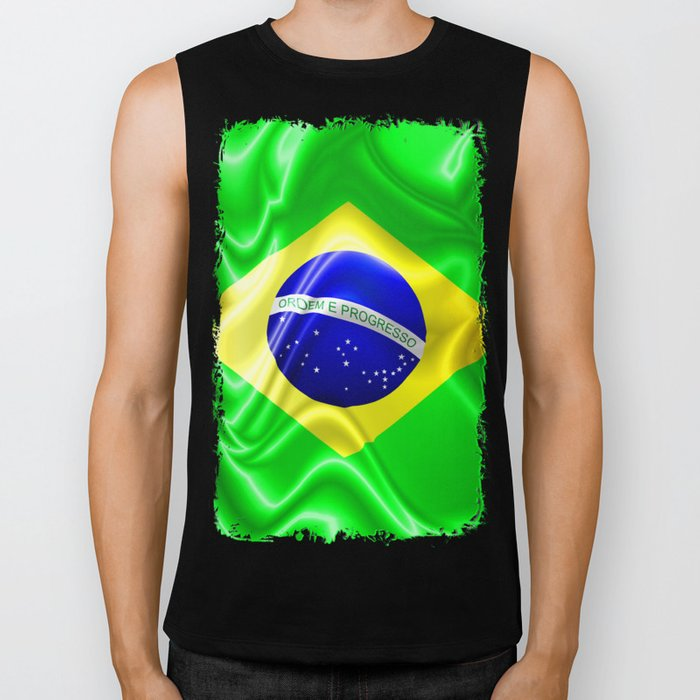 Brazil Flag Waving Silk Fabric Biker Tank