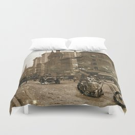 Vintage Bike Lady Duvet Cover