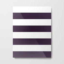 Wide Horizontal Stripes - White and Dark Purple Metal Print