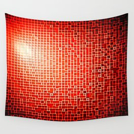 Red Space Pixels Wall Tapestry