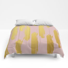 Gold Brushstrokes on Dusty Rose Comforters