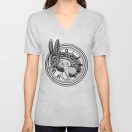 Engraving - White Rabbit Unisex V-Neck