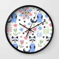racoon Wall Clocks featuring Racoon pattern  by luizavictoryaPatterns