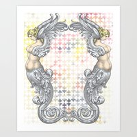 angels Art Prints featuring Angels by FakeFred
