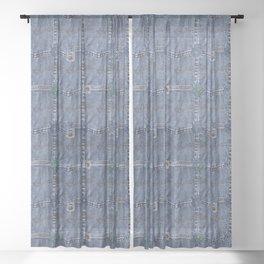 Blue Jeans Denim Pocket Patchwork Sheer Curtain