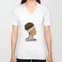queen V-neck T-shirts featuring Queen by Nina Bryant Studio
