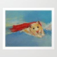 hamster Art Prints featuring Hamster Superhero by Michael Creese