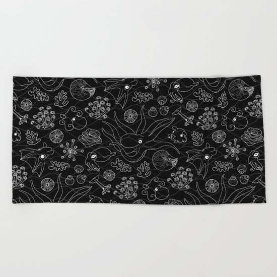Cephalopods - Black and White Beach Towel