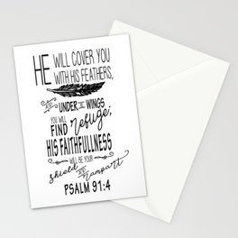 Psalm 91:4 Christian Bible Verse Typography Design Stationery Cards