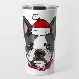 Boston Terrier Dog Christmas Hat Present Travel Mug