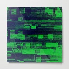 Green Glitch Metal Print
