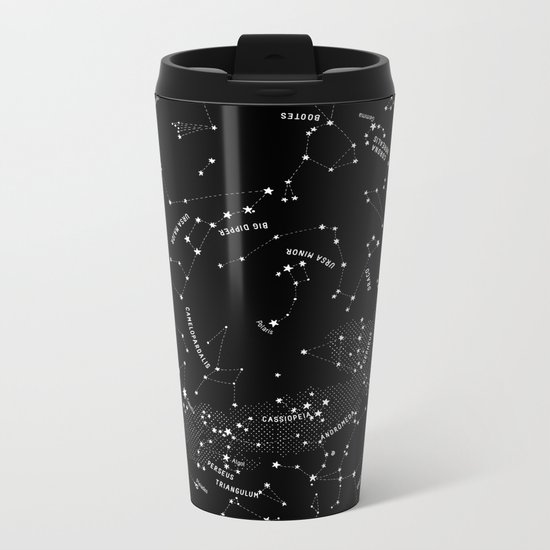 Constellation Map - Black Metal Travel Mug
