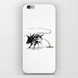 Rat and rainbow. Black on white background-(Red eyes series) iPhone Skin