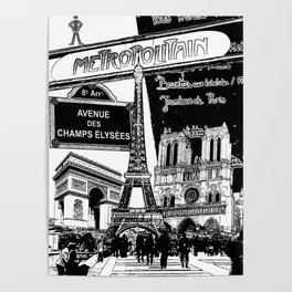 Black-and-White Paris Collage Poster
