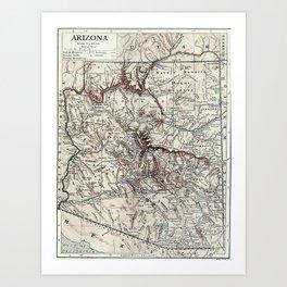 Vintage Map of Arizona (1911)  Art Print