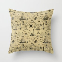 Old Map Background with Vintage Nautical Pattern Throw Pillow