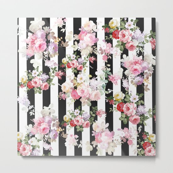 Bold pink watercolor roses floral black white stripes Metal Print