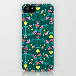 Folk Flowers Green iPhone Case