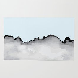 Light Blue Gray and Black Graphic Cloud Effect Rug