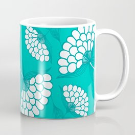 African Floral Motif on Turquoise Coffee Mug