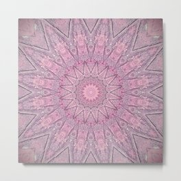 Delicate Pink Grey Boho Chic Mandala Metal Print