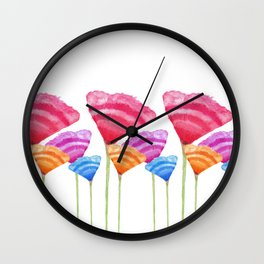 Abstract Hand Painted Colorful Long Stem Flowers Wall Clock