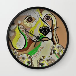 Beagle and Babies Brown Tones Wall Clock