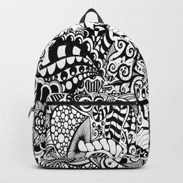 Mushroom madness black and white Backpack