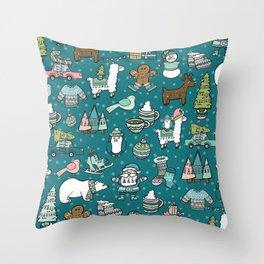 Holly Jolly Christmas Pattern, Holiday Decor, Blue Christmas, Fa la llama, Hand Drawn Illustrations Throw Pillow