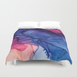 Pondering- Blue and Blush- Alcohol Ink Painting Duvet Cover