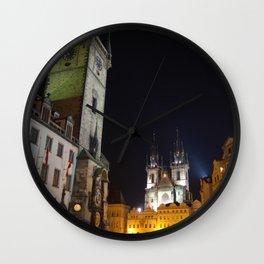 Old Town Square at Night, Prague  Wall Clock