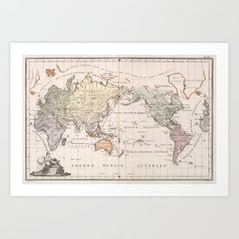 Vintage Map of The World (1842) Art Print