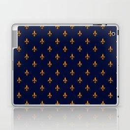 Blue & Gold Fleur-de-Lis Pattern Laptop & iPad Skin
