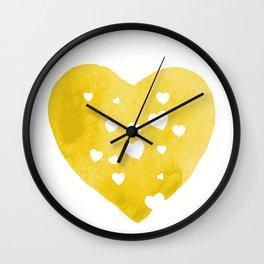 Yellow Hearts Wall Clock