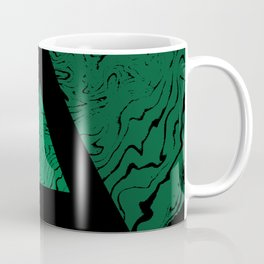 Spilled ink suminagashi malachite green marble stone watercolor marbling triangle minimalism Coffee Mug