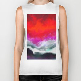 Abstract in Red, White and Purple Biker Tank