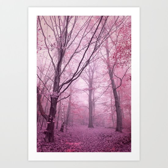 mist in the woods Art Print