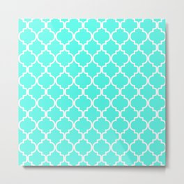 Moroccan Trellis (White & Turquoise Pattern) Metal Print