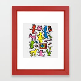 Keith Haring & Simpsons Framed Art Print