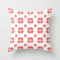 lucky flower coral Throw Pillow