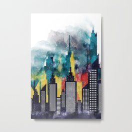 Colorful City Buildings And Skyscrapers In Watercolors, New York Skyline, Wall Art Poster Decor Metal Print