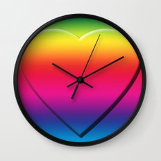 One Heart Rainbow Wall Clock