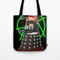 dalek Tote Bags featuring Punk Dalek by Andrew Mark Hunter
