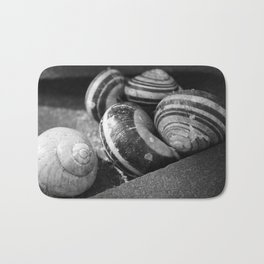 Photography black and white snail Bath Mat
