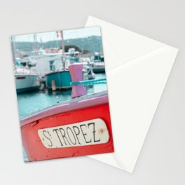 Nautical Travel Print | Blue, Teal, Turquoise Clear Sea, Ocean | Boats, Harbor, Seascape Europe Stationery Cards