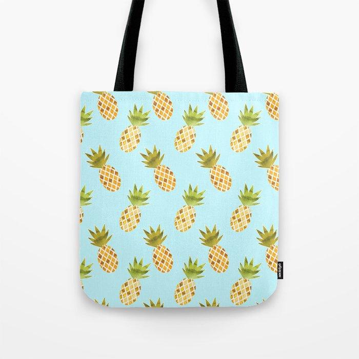 Blue Tropical Pineapple Pattern Tote Bag