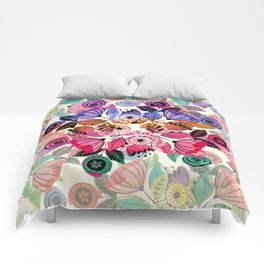 Pink and indigo flower pattern Comforters