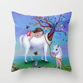 The Unicorn's New Horn Throw Pillow
