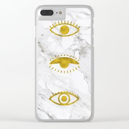 Golden Eyes on Marble Clear iPhone Case